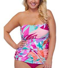 raisins curve trendy plus size bandeau underwire tankini top women's swimsuit