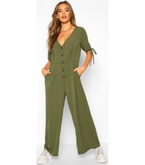 woven tie sleeve button through jumpsuit, khaki