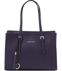 tuscany leather tl141518 tl bag - borsa a mano in pelle saffiano blu scuro