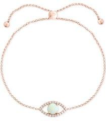 effy opal (1/2 ct. t.w.) & diamond (1/6 ct. t.w.) evil eye bracelet set in 14k rose gold
