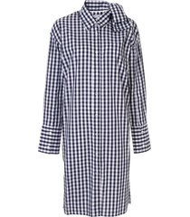 jw anderson check bow collar shirt dress - blue