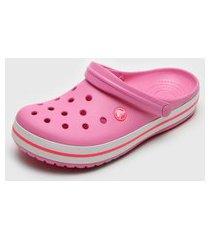 babuche crocs listras rosa