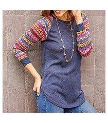 cotton blend sweater, 'andean walk in azure' (peru)