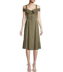 hudson cold-shoulder button flare dress
