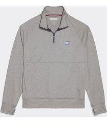 tommy hilfiger men's adaptive quarter zip sweatshirt grey heather - l