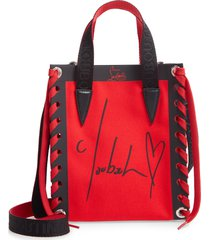 christian louboutin mini cabalace canvas & leather tote -