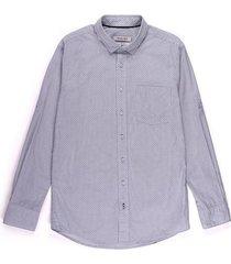 camisa casual manga larga estampada slim fit para hombre 02271