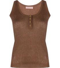 drome scoop neck button down vest top - brown