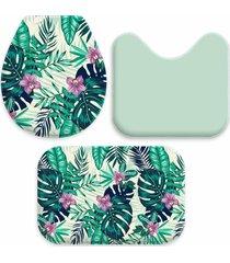 jogo tapetes love decor para banheiro bird and paradise verde ãšnico - verde - dafiti