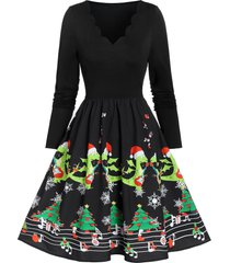 christmas printed scalloped vintage swing dress
