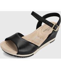 sandalia plataforma negro-beige modare