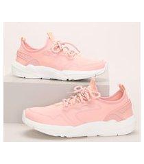 tênis de neoprene feminino oneself chunky sneaker com cadarço coral