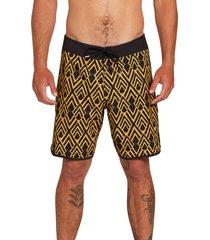 men's volcom echo mod 19 board shorts, size 38 - yellow