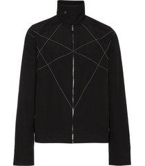 rick owens drkshdw stitch detail high collar jacket - black