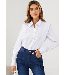 blusa de manga larga con cuello clásico y diseño de botones yoins