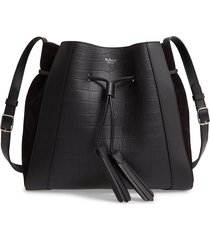 mulberry small millie matte croc embossed leather tote -