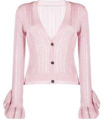 marco de vincenzo sheer ruffled-cuffs cardigan - pink