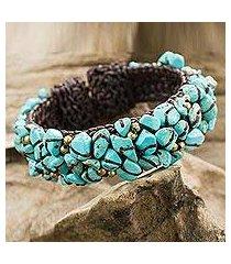calcite cuff bracelet, 'sky blue day' (thailand)