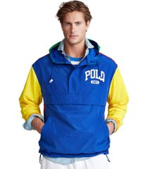 polo ralph lauren men's big & tall color-blocked graphic logo pullover windbreaker
