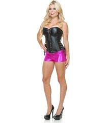 buyseasons women's liquid metal shorts fuscia