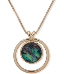 "anne klein gold-tone abalone orbital 32"" long pendant necklace"