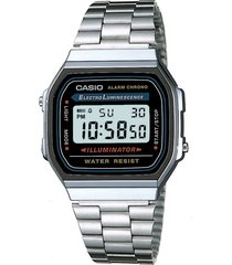reloj casio retro a-168wa color plateado