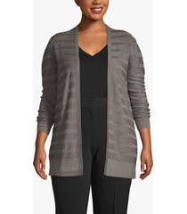 lane bryant women's open-stitch striped cardigan 14/16 steel gray