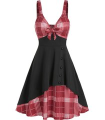 bowknot button houndstooth insert mini cami dress