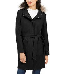 tommy hilfiger belted faux-fur-trim hooded coat