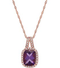 "amethyst (1-1/2 ct. t.w.) & diamond (1/10 ct.t.w.) 18"" pendant necklace in 14k rose gold"