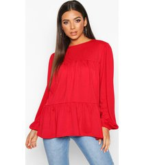 crepe tierred smock top, red