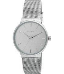 laura ashley ladies' silver minimalist mesh band watch