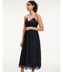 tommy hilfiger women's lace midi dress navy - 12