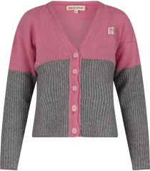 emilio pucci pink and grey cardigan with logo for girl