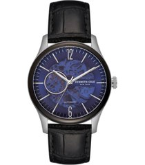 kenneth cole new york men's automatic black leather strap watch 42.5mm