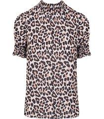 leopard col top beige