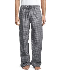 hanro men's check lounge pants - black check - size s