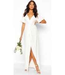 bridesmaid occasion sequin knot front maxi dress, ivory