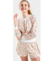 ava ditsy floral lounge shorts - white