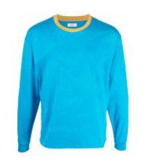 erl moletom de algodão com pesponto contrastante - azul