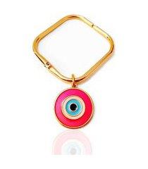 bracelete pulseiraria chic quadrado olho grego pink