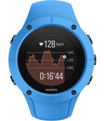 suunto spartan trainer wrist hr, blue blue silicone band with a digital dial