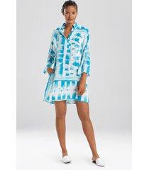 paintstroke sleepshirt pajamas, women's, green, size l, n natori