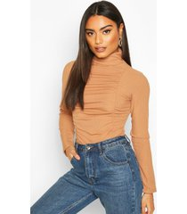 ruched ribbed high neck top, camel