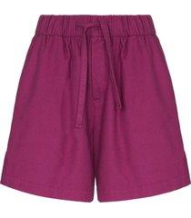 tekla wide-leg cotton pajama shorts - purple
