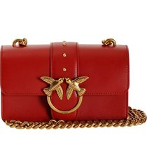 pinko love mini icon simply c red crossbody bag