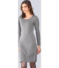 gebreide jurk alba moda grijs::offwhite::zilverkleur