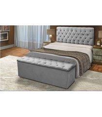 cabeceira mais calçadeira baú king 190cm para cama box sofia suede cinza - ds móveis