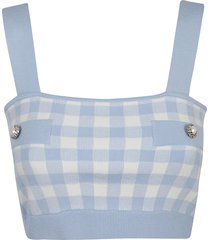 alessandra rich gingham cotton knitted bralet top