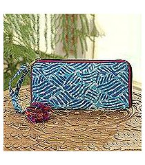 batik cotton wallet, 'creative design in azure' (india)